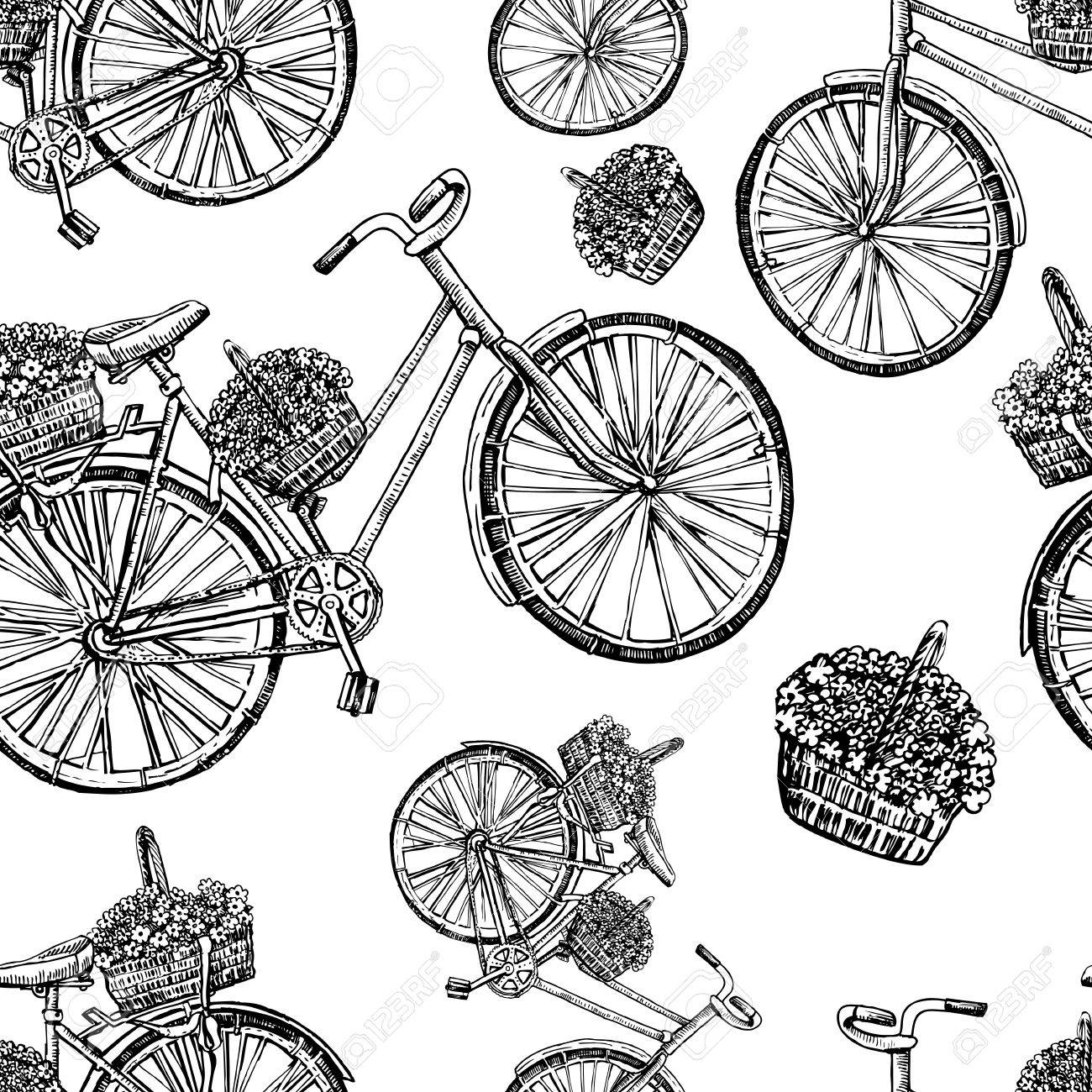 1300x1300 Seamless Pattern, Bicycle Hand Drawn Vector Sketch, Ink