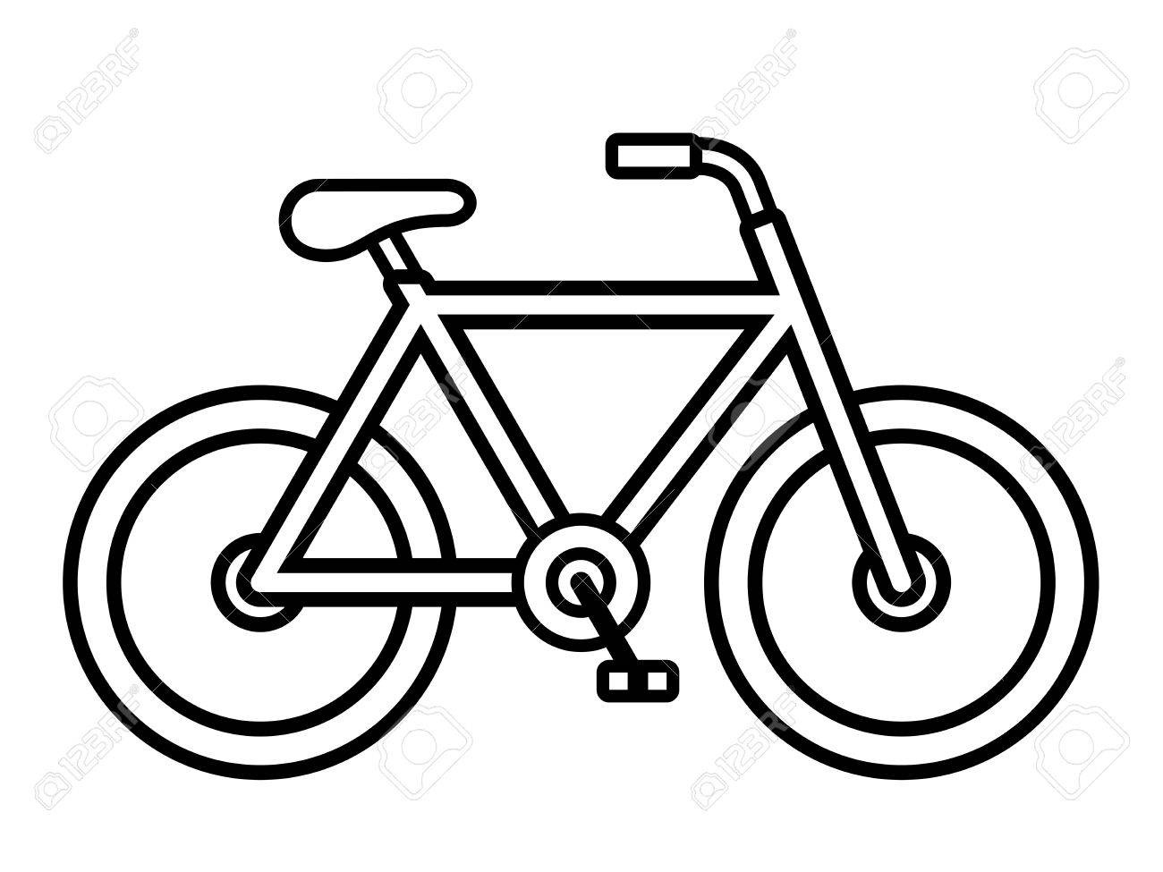 1300x975 Bicycle Outline Drawing Viewed From The Side Isolated Over White