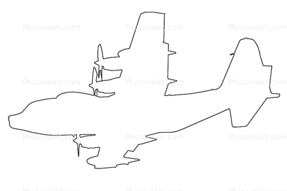418x279 Lockheed Mc 130p Outline, Line Drawing, Shape Images, Photography