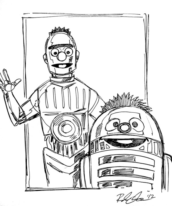 600x721 Bert And Ernie As C3po And R2d2 By Rebekah Isaacs By