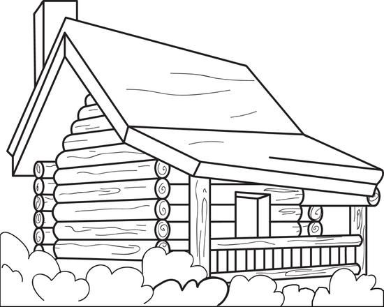 550x440 Log Cabin Coloring Pages Town Log Cabin Coloring Pages For Adults
