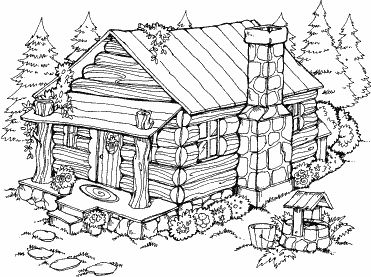 371x277 Cabin In The Woods Coloring Pages Log Cabin Outline