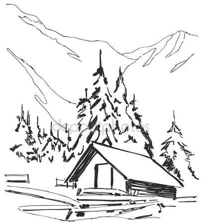 406x449 Cabin Doodle Stock Vectors, Royalty Free Cabin Doodle