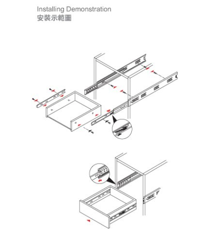 456x482 40mm China Supplier Telescopic Channel Cabinet Drawer Slide, View