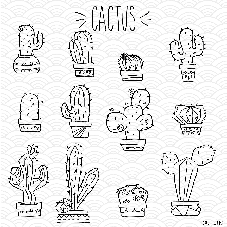 3000x2992 Cactus Vector Sketches