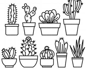 340x270 Cactus Outline Etsy