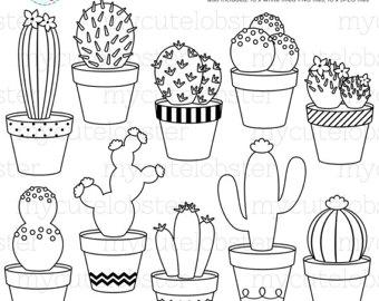 340x270 Cute Cactus Digital Stamp Clipart Outline Clip Art Cactus