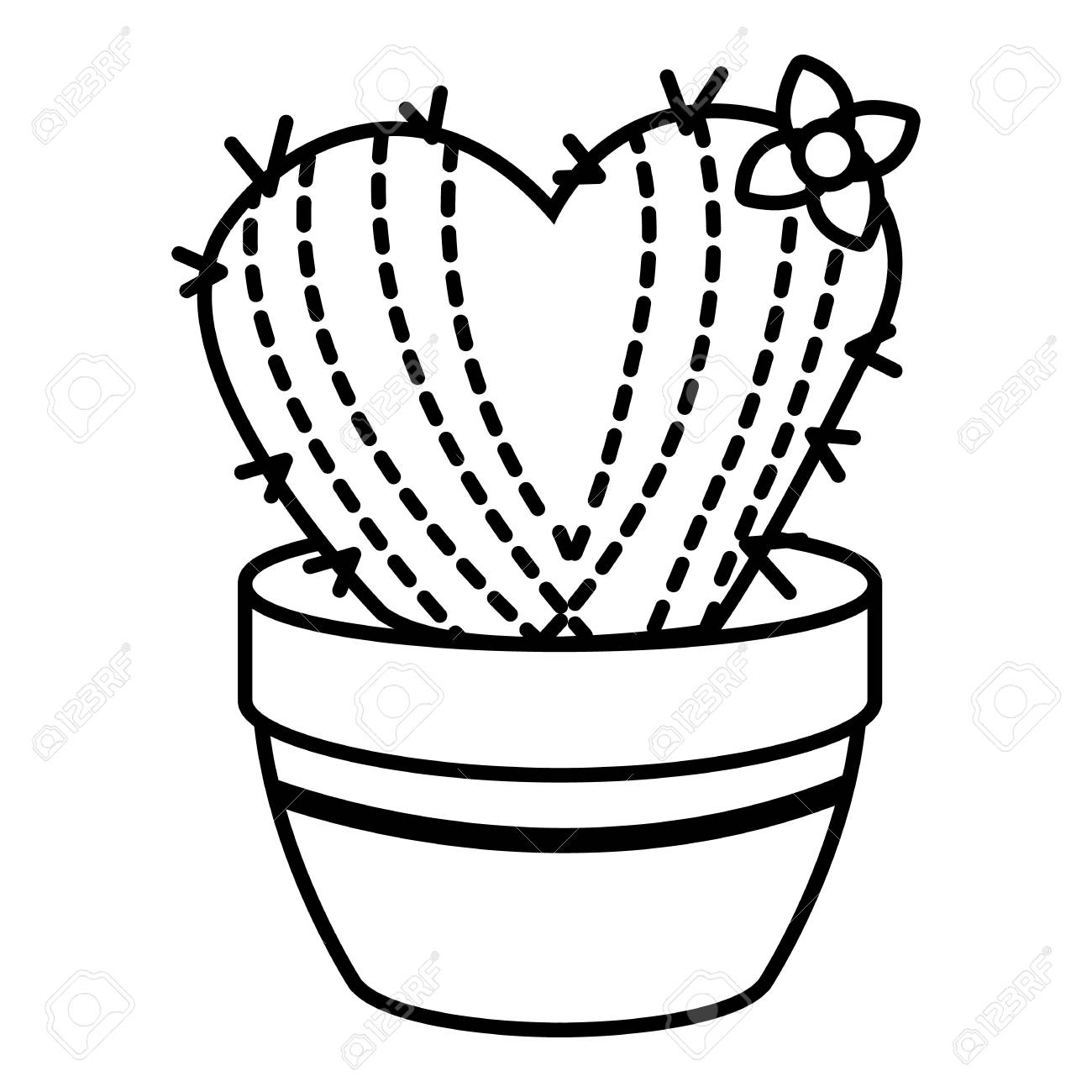1300x1300 Needle Heart Cactus Icon, Outline Line Style Royalty Free Cliparts