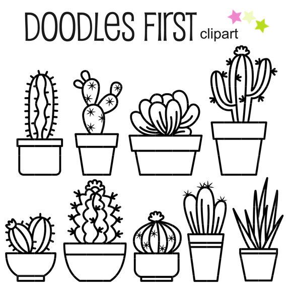 570x570 Outline Cactus Digital Clip Art For Scrapbooking Card Making