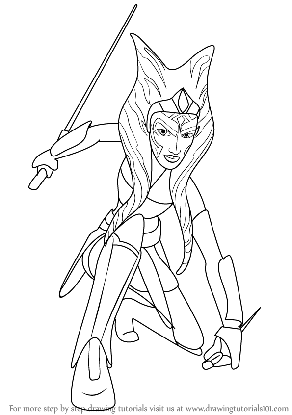 595x846 Learn How To Draw Ahsoka Tano From Star Wars (Star Wars) Step By