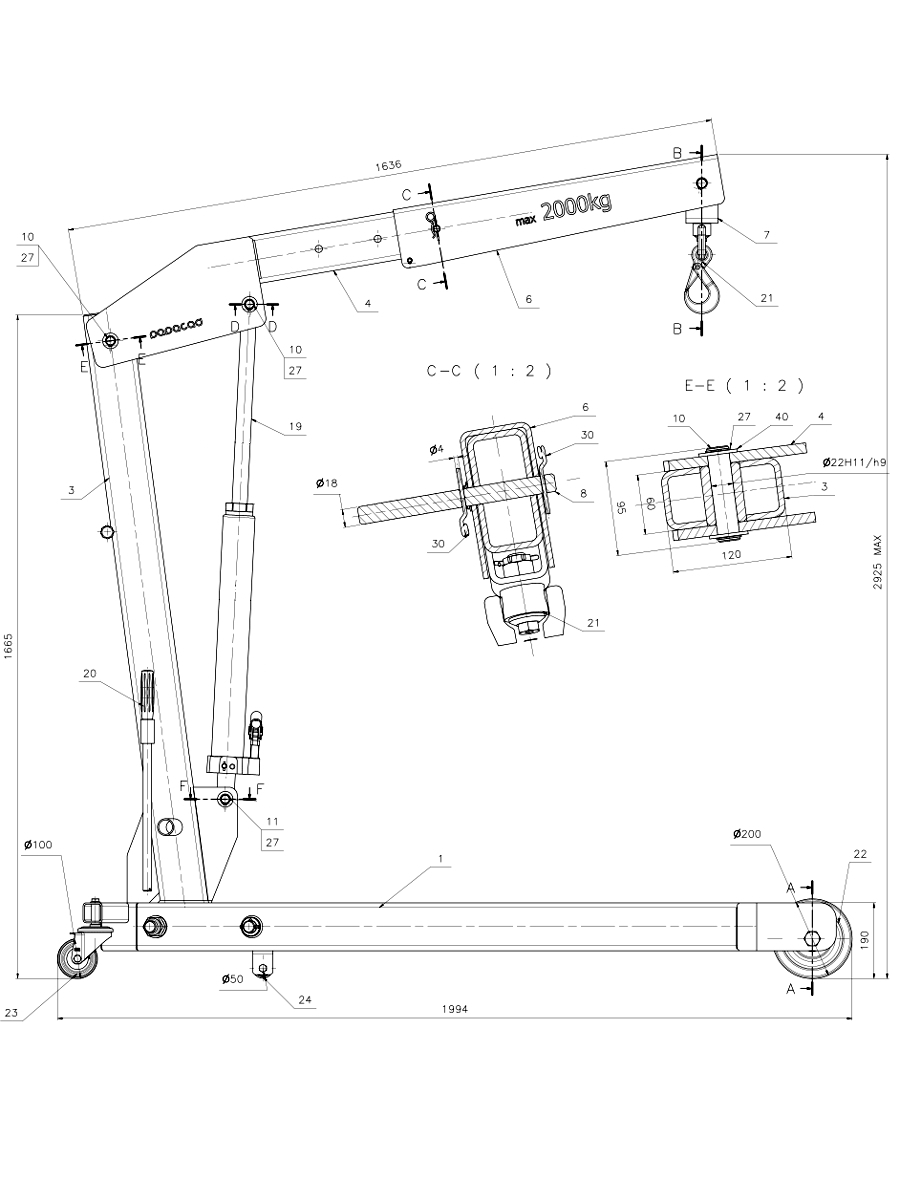 900x1200 Foldable Shop Crane