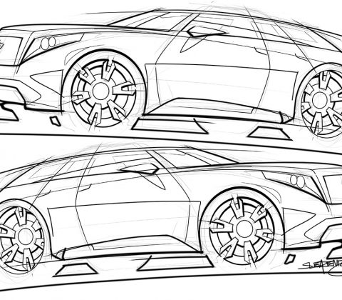 480x420 Tough Looking Cadillac Suv Concept Sketch Scottdesigner