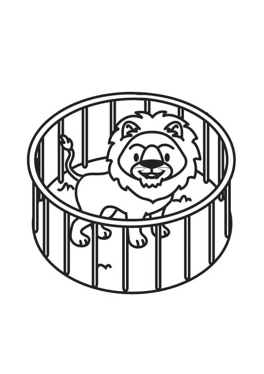 531x750 Coloring Page Lion In Cage