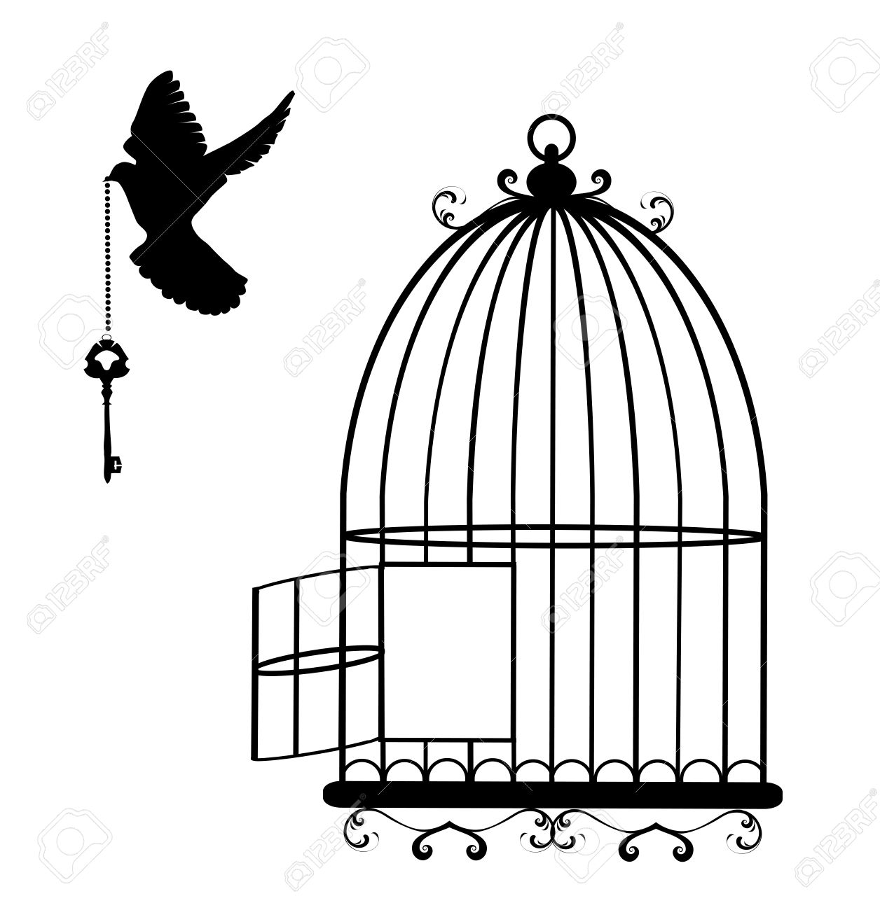 1256x1300 Vector Illustration Of A Flying Dove With A Key And Cage Open
