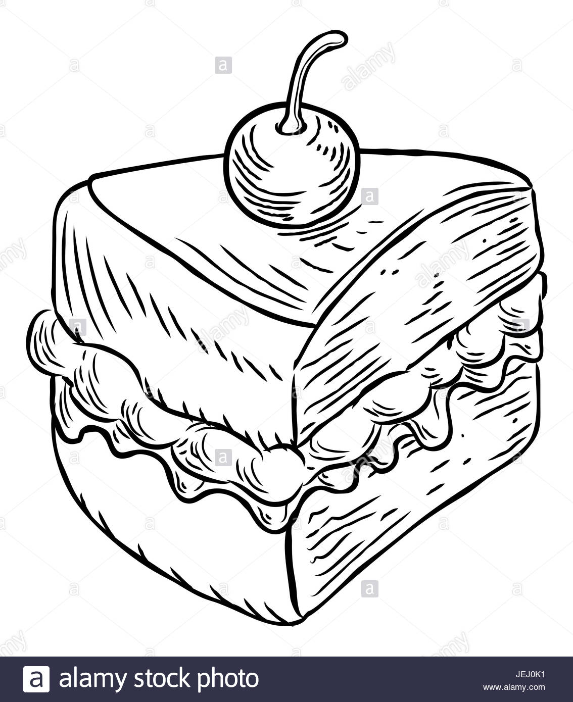 1134x1390 A Jam And Cream Victoria Sponge Cake Slice With Cherry, Hand Draw