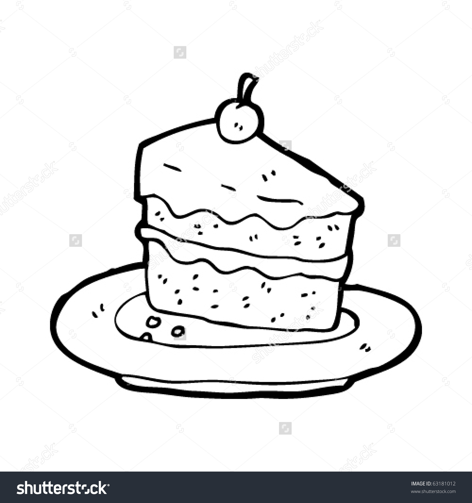 1500x1600 Cartoon Cake Drawing Slice Cake On Plate Cartoon Stock Vector
