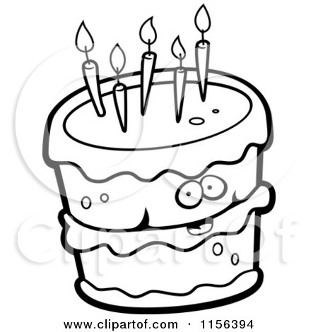 450x470 Cartoon Clipart Of A Black And White Birthday Cake Character