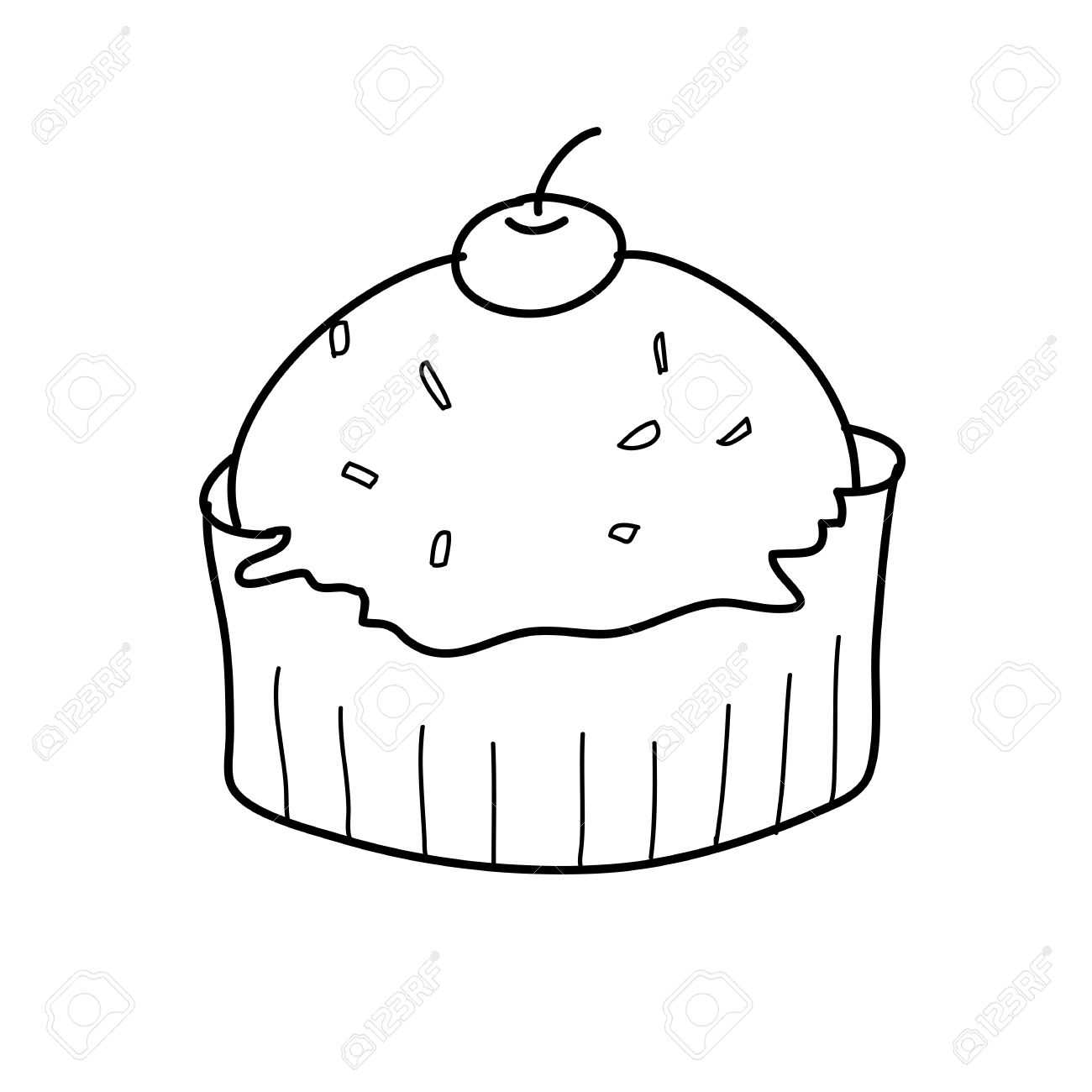 1300x1300 Cup Cake Sketch In Black And White Style Free Hand Drawing Royalty