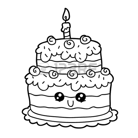 450x450 Vector Illustration Coloring Page Of Happy Cartoon Birthday Cake