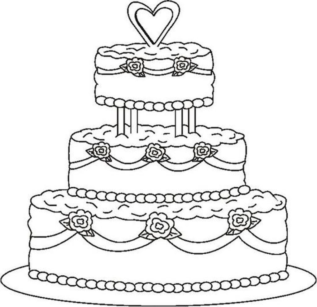 1024x990 Excellent Birthday Cake Coloring Page Coloring Pages Cakes