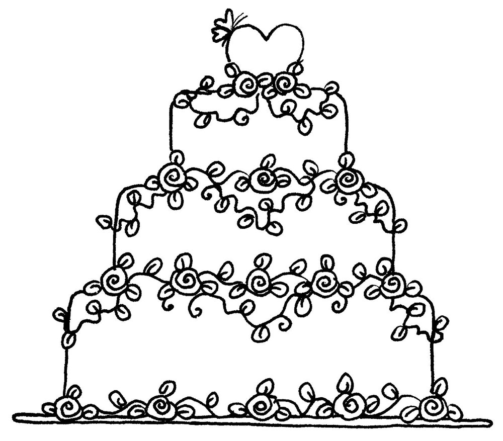 1000x877 Floral Wedding Cake Rubber Stamp