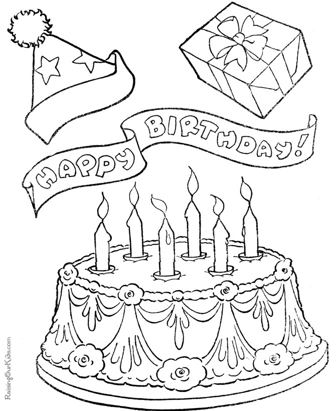 670x820 Free Printable Birthday Cake Coloring Pages For Kids