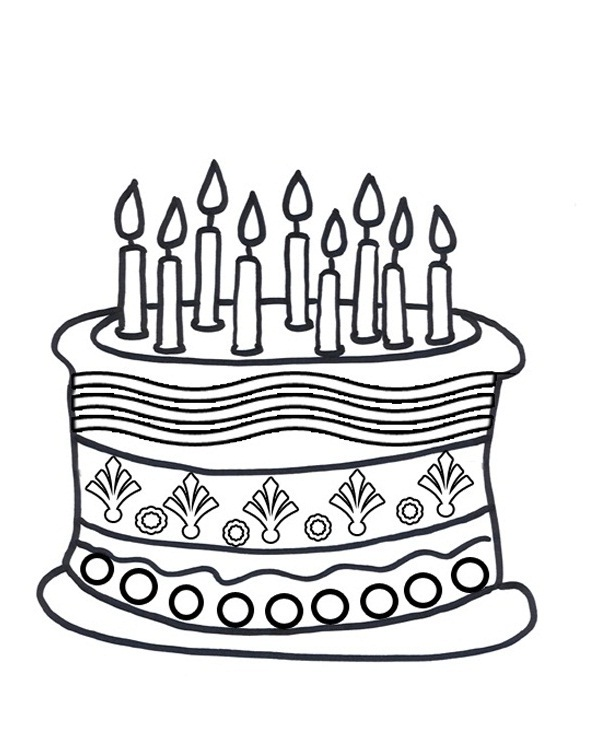 600x751 Unique Birthday Cake Coloring Pages 46 About Remodel Gallery