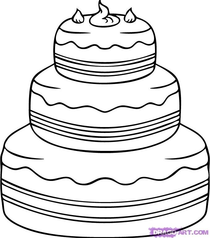 679x768 Incredible Ideas Cake Drawing And Creative How To Draw A Cake Step