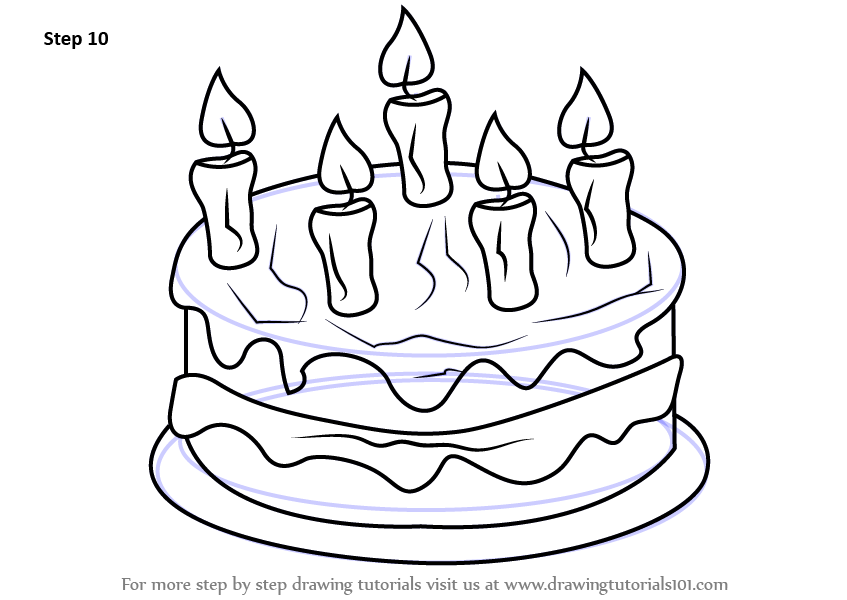 847x600 Learn How To Draw Cake With Candles (Cakes) Step By Step Drawing