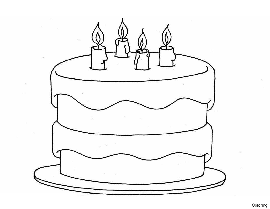 1100x850 Simple Birthday Cake Drawing Sketch Picture Clip Art Black
