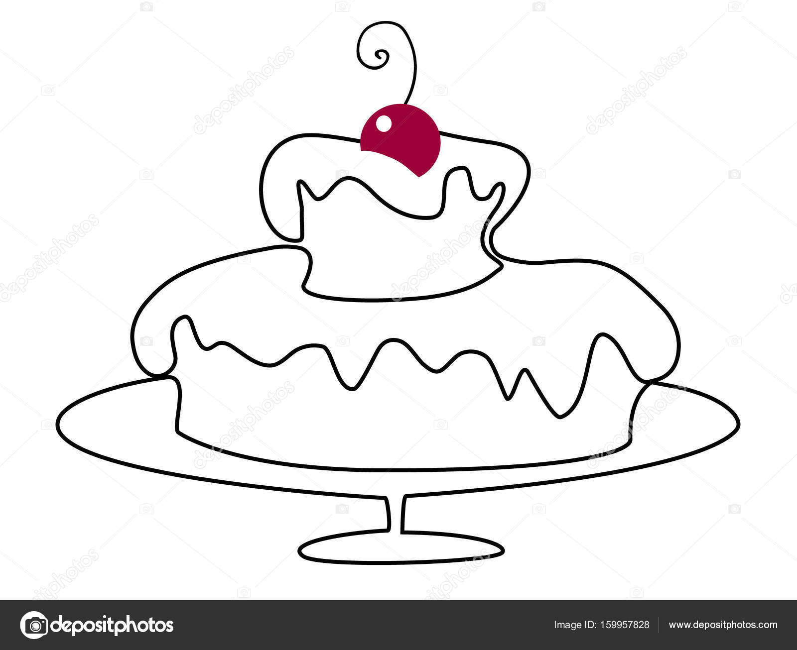 1600x1306 Birthday Cake Drawing Stock Vector Agnieszka