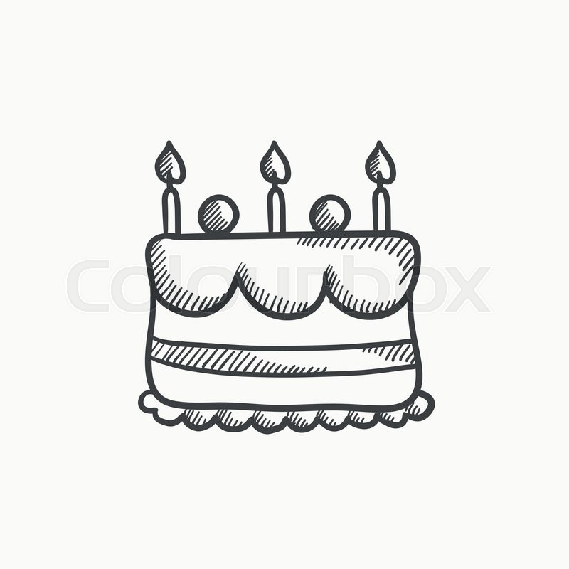 800x800 Birthday Cake With Candles Vector Sketch Icon Isolated