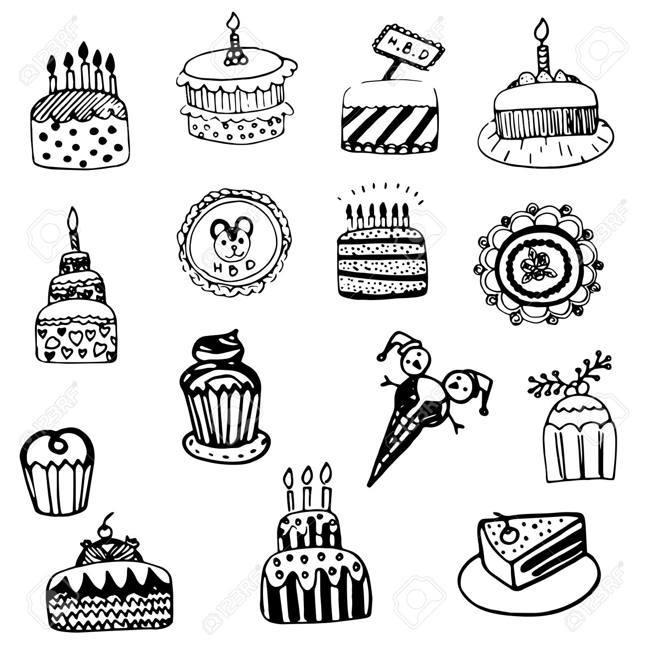 1299x1300 Cake Sketch Vector Set Royalty Free Cliparts, Vectors, And Stock