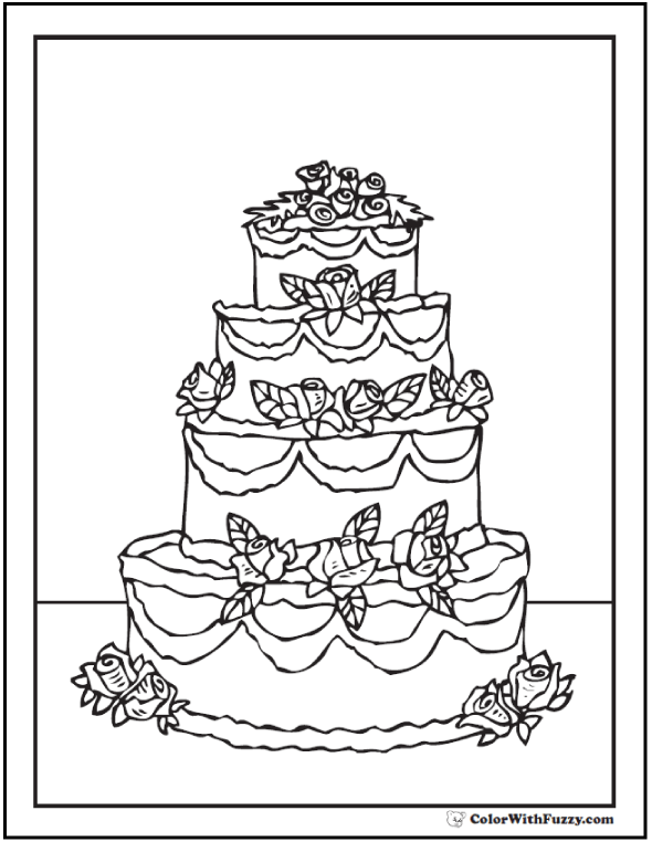590x762 20+ Cake Coloring Pages Customize PDF Printables