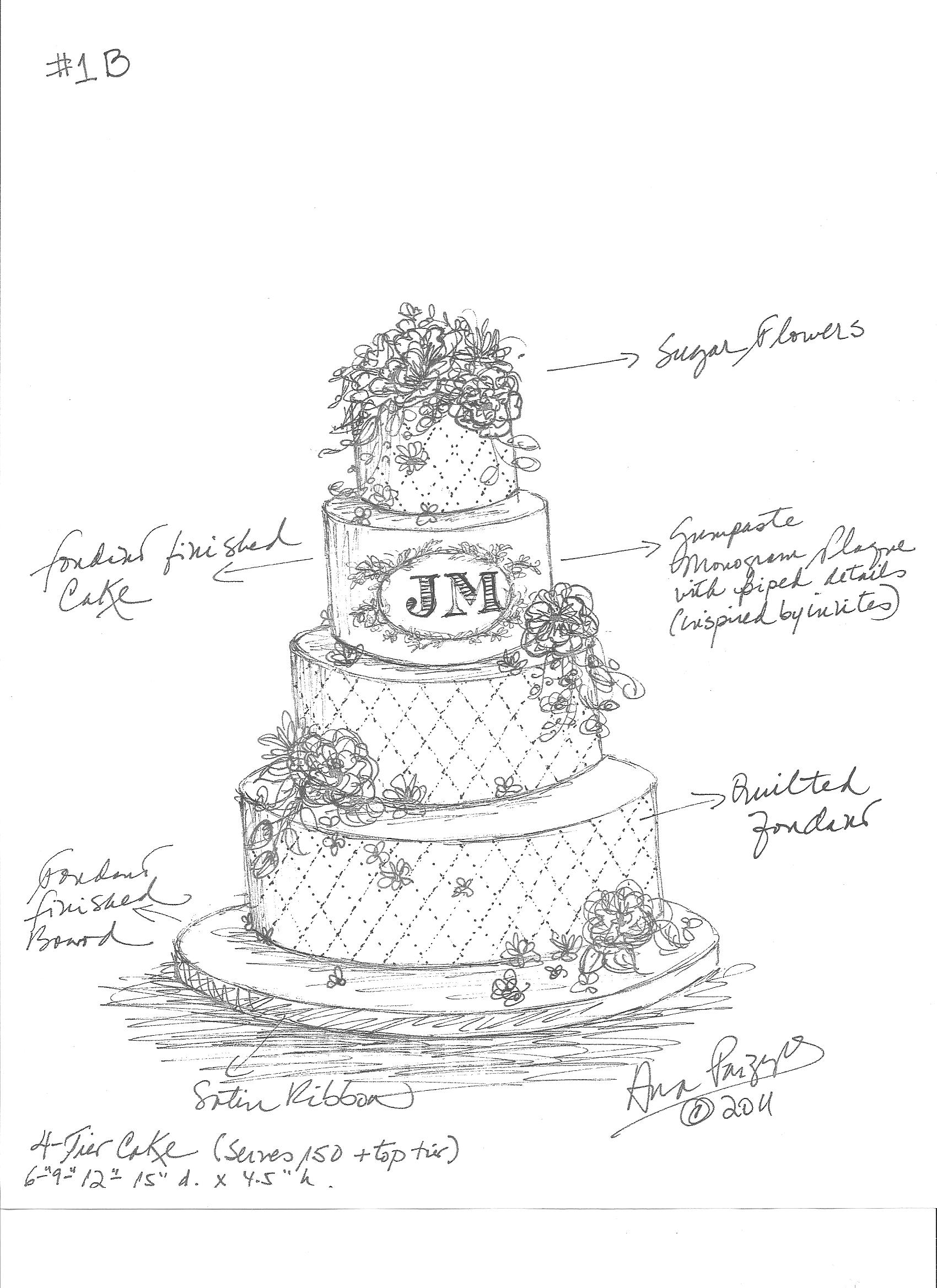 1700x2338 Drawn wedding cake pencil drawing