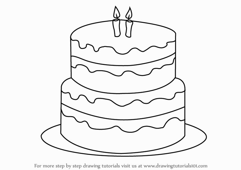 800x566 Easy Birthday Cake Drawings