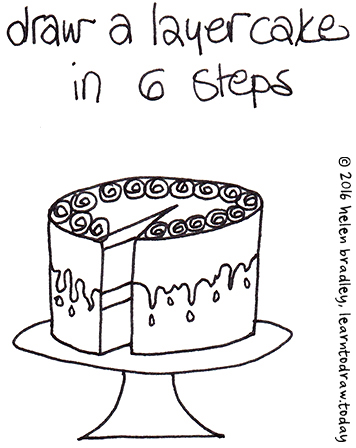 356x448 Learn to Draw a Cake in 6 Steps… Learn To Draw