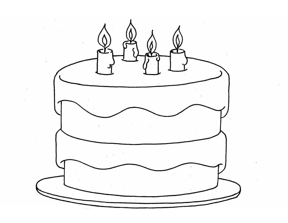 1100x850 Simple Birthday Cake Drawing Birthday Cake Color Pages Activity