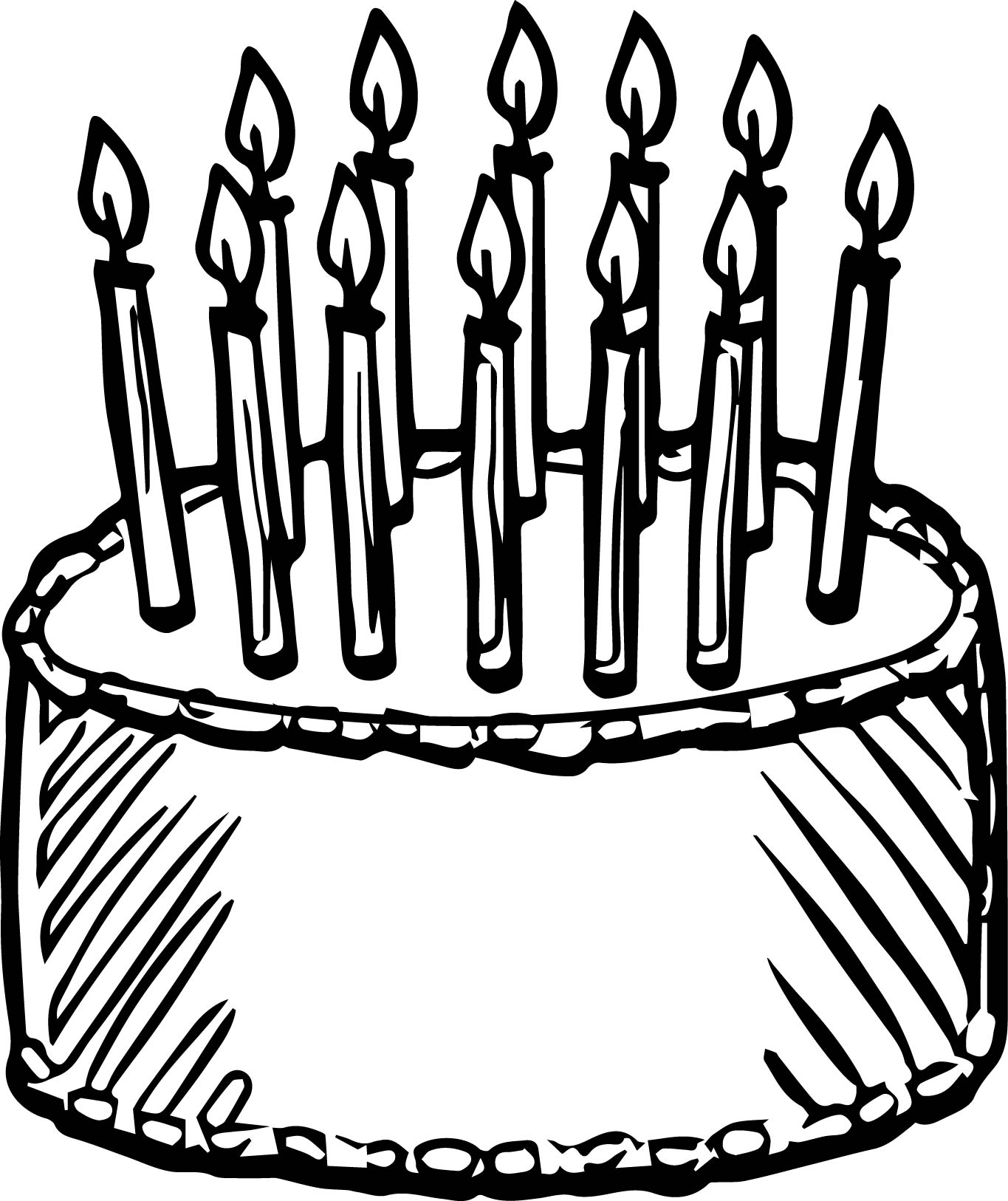 1365x1626 Birthday Cake Draw Coloring Page Wecoloringpage