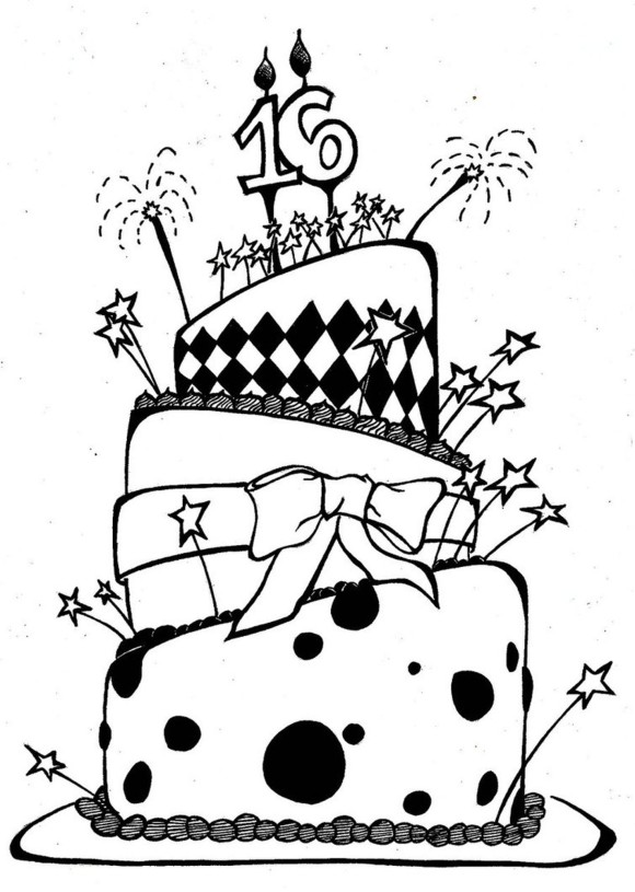 580x815 Awesome Birthday Cake Coloring Page 00 Pinterest Birthday