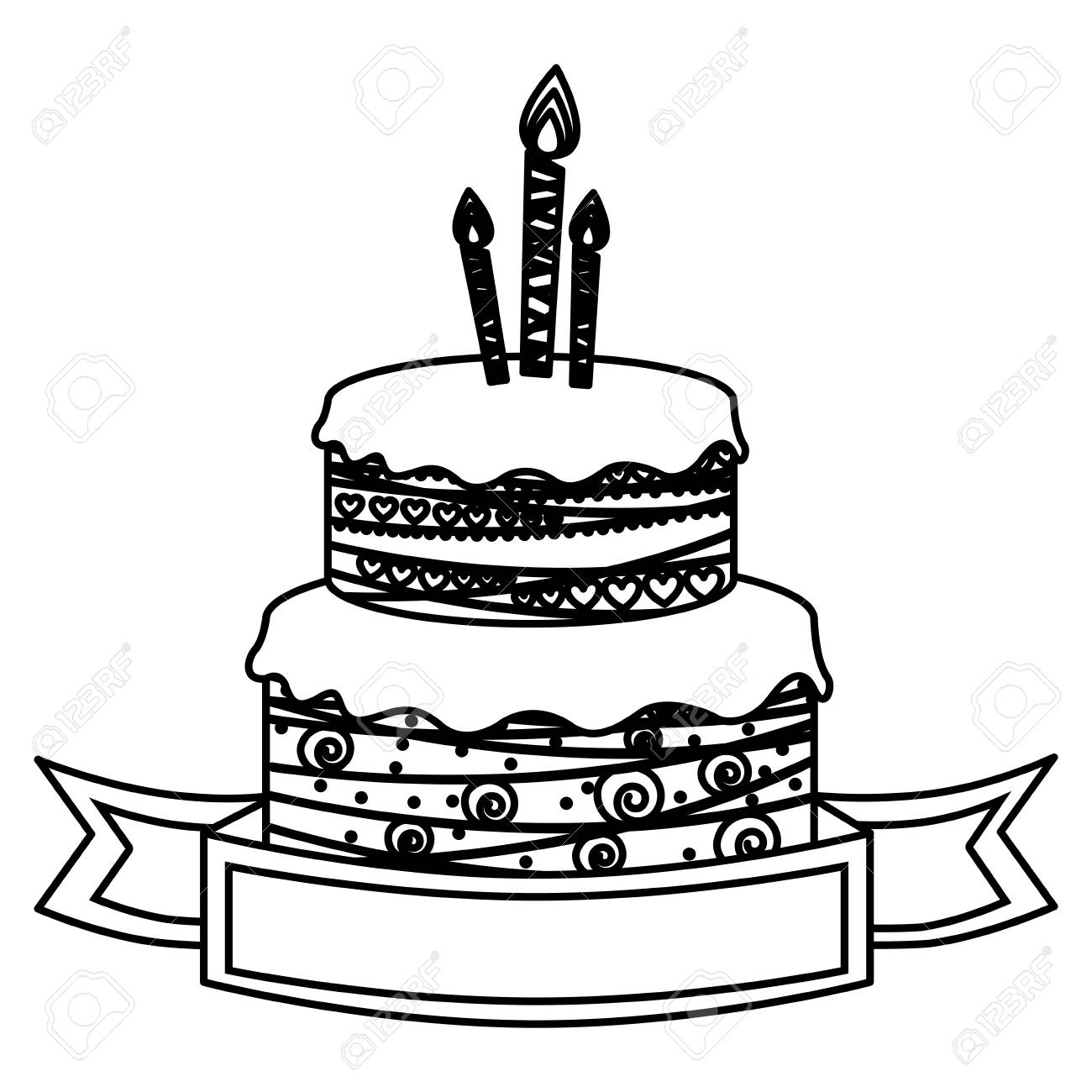 1300x1300 Sketch Silhouette Birthday Cake Two Floors With Candles And Ribbon