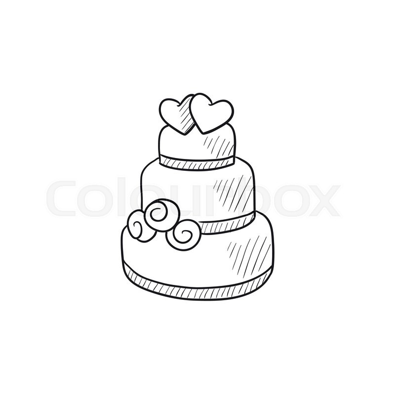 800x800 Wedding cake vector sketch icon isolated on background. Hand drawn