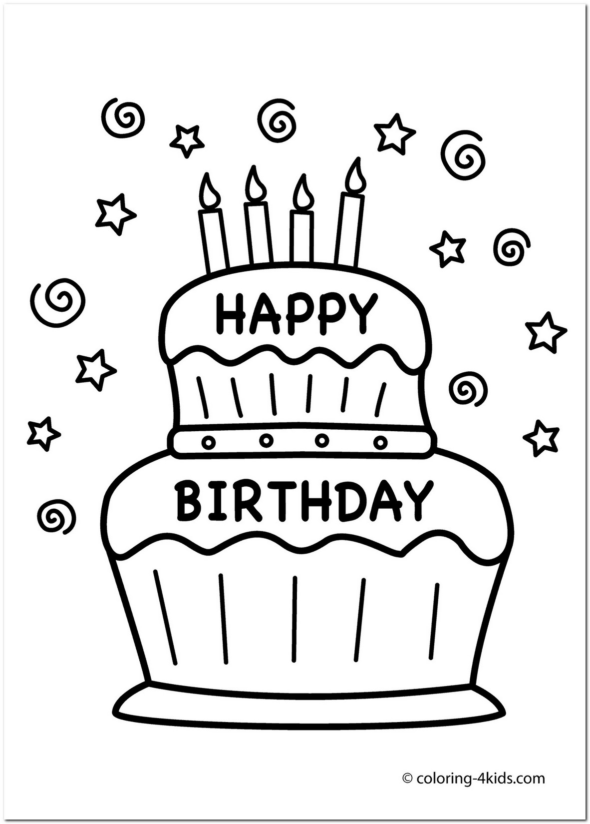 1182x1649 coloring page birthday cake free Drawing Board Weekly
