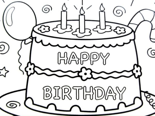 640x480 happy birthday cake drawing pages, coloring book, fun art colours