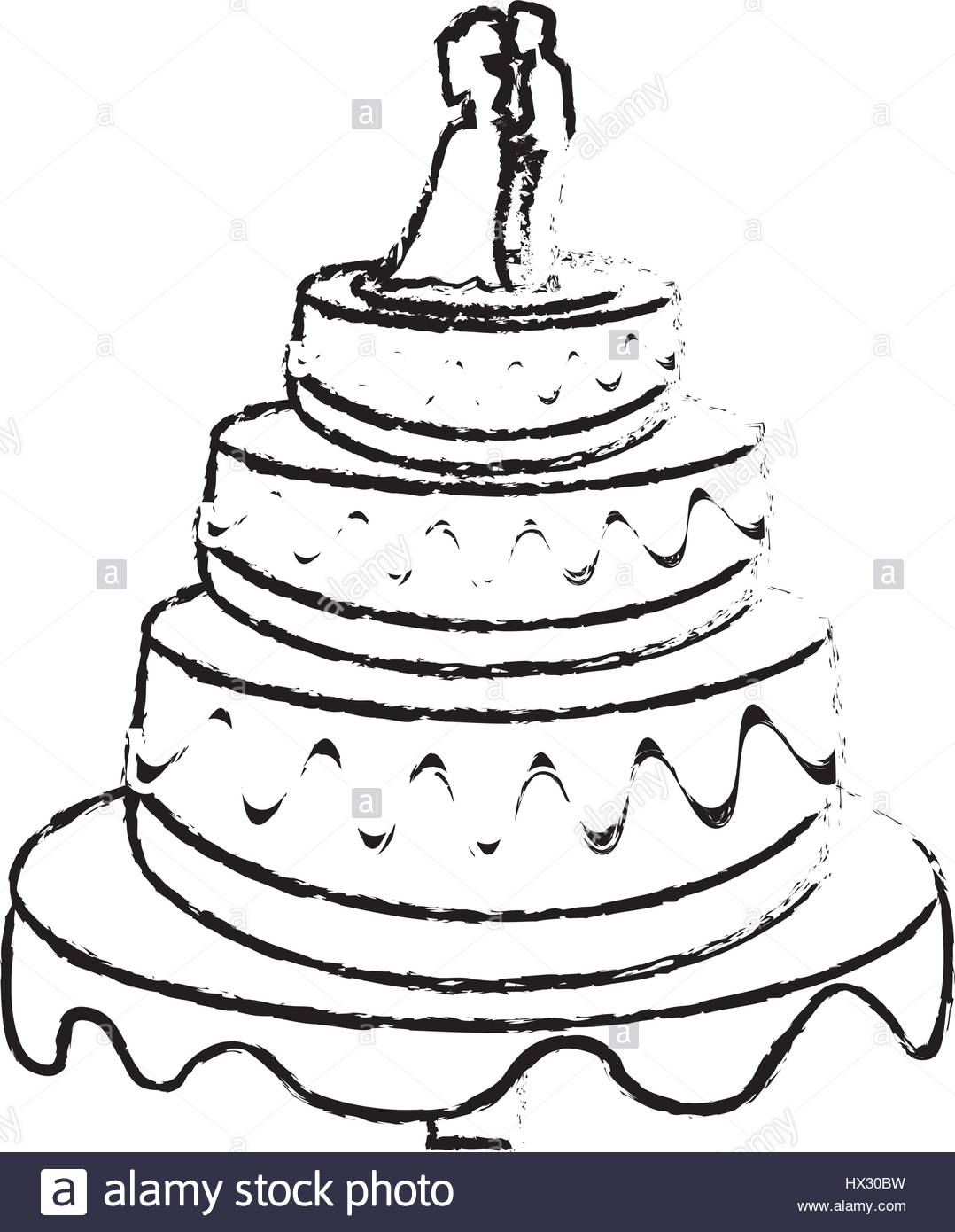 1078x1390 wedding cake couple dessert sketch Stock Vector Art amp Illustration