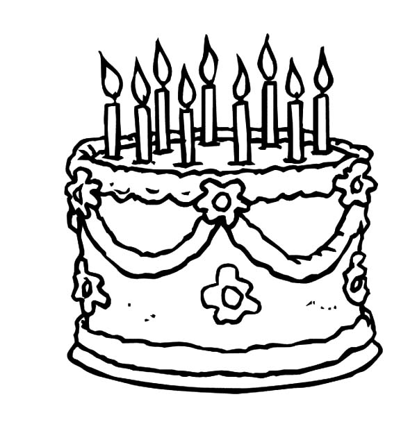 600x634 Beautiful Birthday Cake Coloring Pages