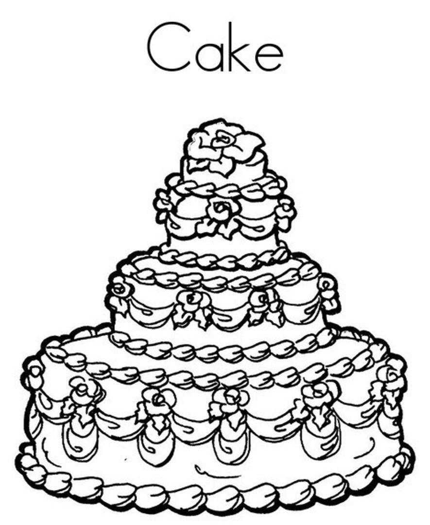 885x1080 Birthday Cake Coloring Pages