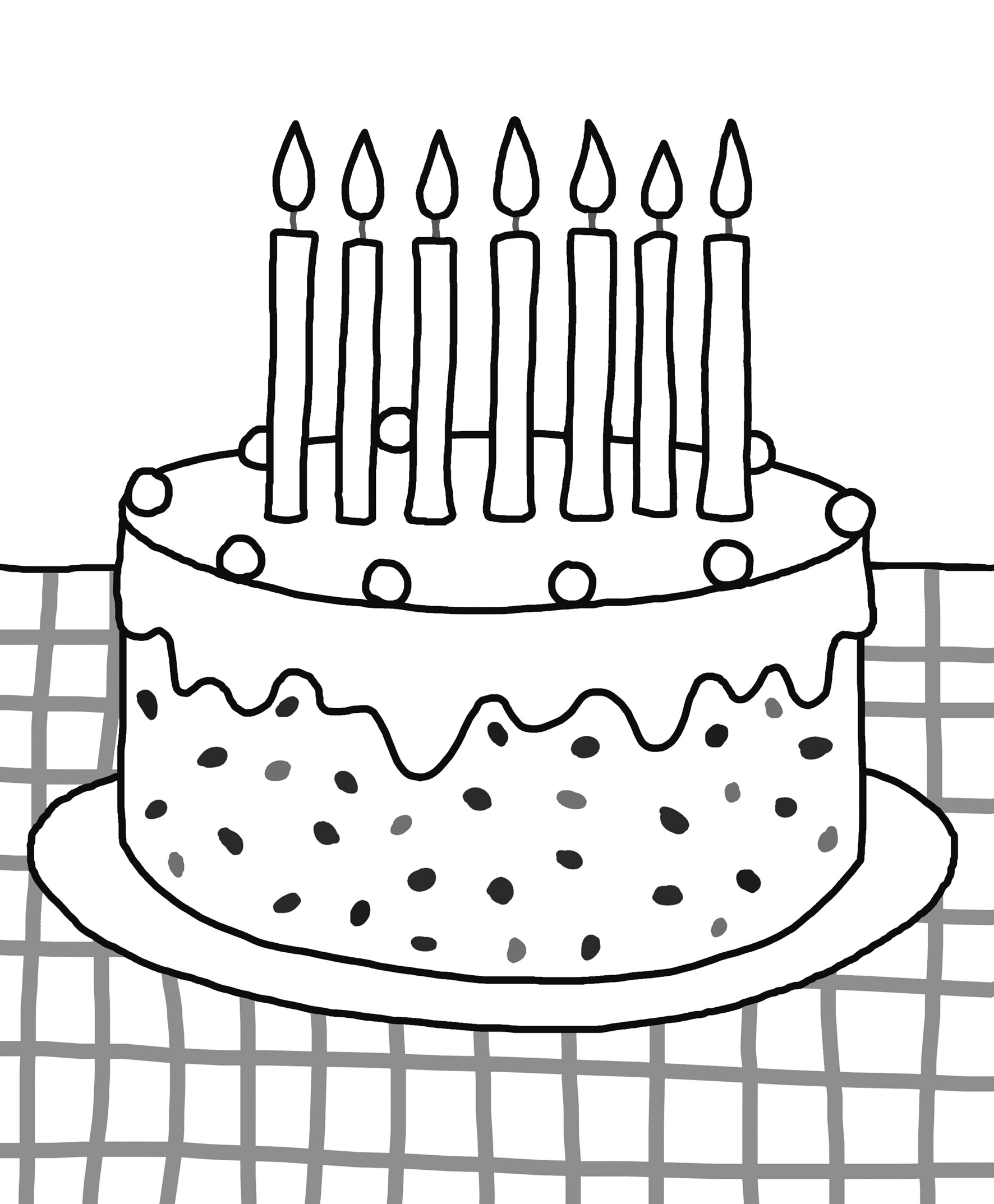 1772x2147 Excellent Birthday Cake Coloring Page Coloring Pages Cakes