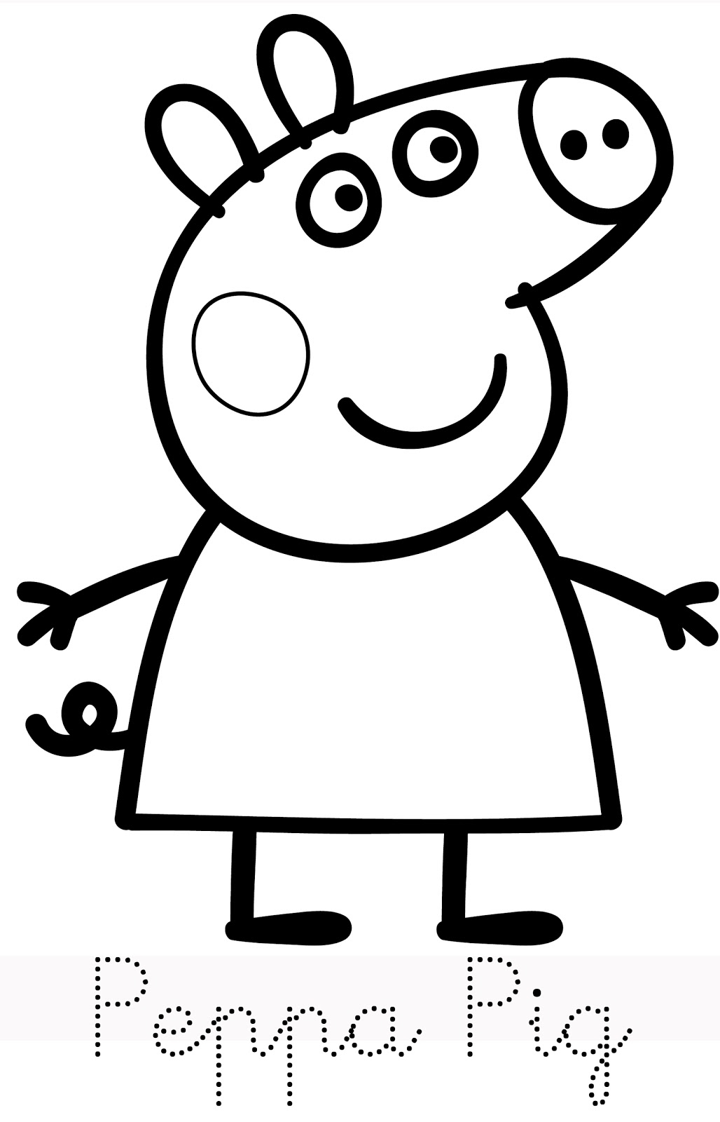 1028x1600 Peppa Pig Drawing Templates Peppa pig cake template Peppa Pig