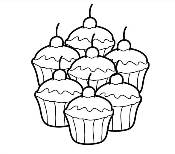 585x515 Printable Cupcake Template